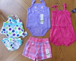 New Summer Girl 24 m Clothes LOT Jumper Shorts Pink Purple Swimsuit $68 rv NWT $22.00