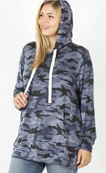 Softest Hooded Camouflage Top with Kangaroo Pocket Blue Reg and Plus Sizes $14.99
