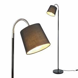 Adjustable Floor Lamp with Chrome Accents and Black Fabric Lamp Shade $24.95