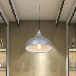 Allen Roth Swag Pendant Light LED Metal Gray Steel Pan Shade Ceiling PLUG IN $59.49