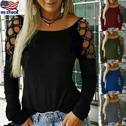 Women Hollow Long Sleeve Tops Blouse Ladies Cold Shoulder Casual Shirt Plus Size $16.89