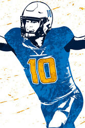 Justin Herbert Los Angeles Chargers Football Art Wall Room Poster POSTER 24x36 $18.99