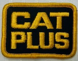 Vintage CAT PLUS Embroidered Sew On Patch Advertising Black Yellow Caterpillar $9.87