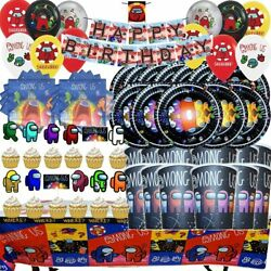AMONG US balloon Cupcake Topper Birthday Party Decoration Supplies SPACE banner $7.99