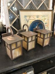 Contemporary Set of Three Craftsman Arts amp; Crafts Mission Style Wall Sconces $675.00
