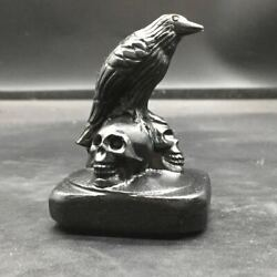 Natural Obsidian Crystal Quartz Carved Not polished Crow Skull Healing Decorate $19.99