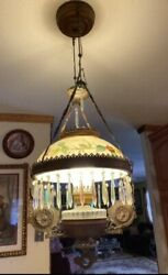 Vintage Victorian Hanging Brass Lamp Painted Shade Electrified Peacock Design $190.00