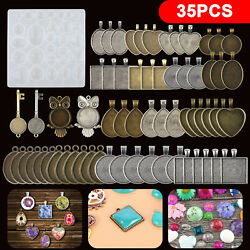 35PCS DIY Silicone Resin Mold Jewelry Casting Epoxy Pendant Tray Mould Craft Kit $13.98