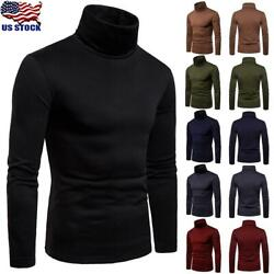 US Mens Turtleneck Pullover Long Sleeve Jumper Tops Warm Casual Slim Fit T Shirt $17.19