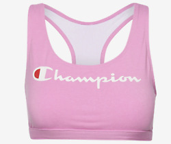 Champion Sports Bra Life The 029 Reissue Script Logo Women#x27;s Racerback Pink LG $17.94