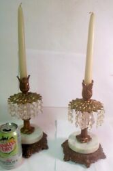 vtg PAIR Table CANDLE HOLDERS Marble CRYSTAL PRISMS Gilt Brass Metal $350.00