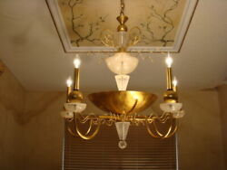 AMAZING MID CENTURY ATTRIBUTED TO VAN TEAL BIG GEOMETRIC FROST LUCITE CHANDELIER $680.00