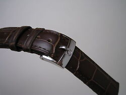 18MM BROWN LEATHER STRAP BAND STAINLESS STEEL SMALL LOGO BUCKLE FOR OMEGA WATCH $45.00
