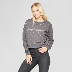 NWT Fifth Sun Women#x27;s HOLIDAY CHEER All Over Champagne Sweatshirt SZ L $14.99