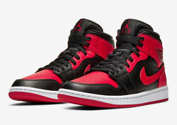 "Nike Air Jordan 1 Mid Shoes Black Red White ""Banned"" 554724 074 Men#x27;s NEW $215.99"