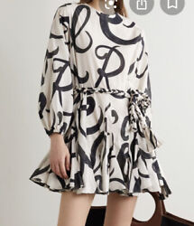 Rhode Resort Ella Black White Script Mini Dress Cotton Tiered Godet M $225.00