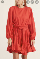 Rhode Resort Ella Voile Candy Red Mini Dress Cotton Tiered Godet L Nwt $227.00