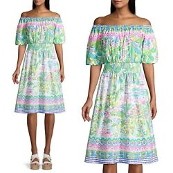LILLY PULITZER CAMILLE Multi ISLAND HOPPING ENGINEERED DRESS off shoulder $248 $149.00