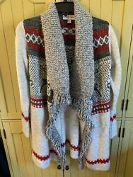 Knox Rose Long Sleeve Holiday Reindeer Open Cardigan Sweater With Fringe Gray XS $9.99