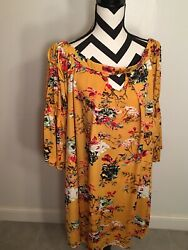Yellow floral Boutique tunic Southern Stitch stretch size XXL Longsleeve $10.50