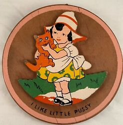 Vintage Wooden Child's Wall Plaque Girl Hugging Pussy Cat $10.00