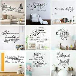 Removable 3D Quote Letter Home Room Art Decor DIY Wall Sticker Decal Mural Vinyl $2.33