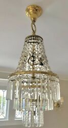 Antique Vintage Crystal Brass Wedding Cake Chandelier French Colonial Prisms $1495.00