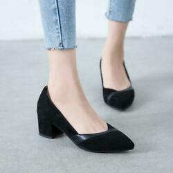 Womens Lady pointy toe Dress Shoes Chunky Block Heel OL office Pumps party shoes $40.17