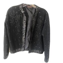 Vtg Jacket Womens Large 100% Wool? Sequin Party Evening Open Cardigan Lined Bead $24.99