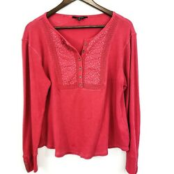 Lucky Brand Womens Thermal Henley Top Size XL Embroidered Long Sleeve Boho Pink $24.99