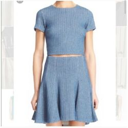 Alice and Olivia Tweed Set Suit Blue Skirt and Cropped Top Size 6 $119.99