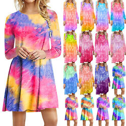 Women Tie dye Long Sleeve T Shirt Dress Loose Baggy Tunic Casual Holiday Dresses $20.09