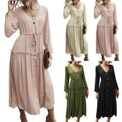 Ladies Solid Ruched Midi Dress Belted Buttons Casual Loose Holiday Party Dresses $43.39