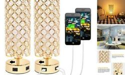 USB Crystal Table Lamp Gold Lamp Sets Desk Lamp Set of 2 with USB Charging $69.89