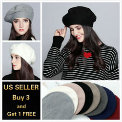 Fashion Classic Vintage French Style Soft Wool Blended Beret Warm Winter Hat $6.89