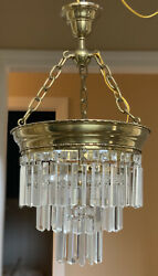 Antique Vintage Crystal Brass Wedding Cake Chandelier French Colonial Prisms $1250.00