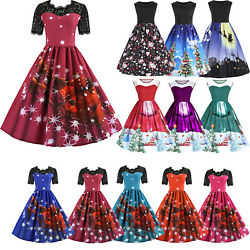 Women Christmas Skater Swing Dress Ladies Retro Rockabilly Xmas Party Dresses $20.19