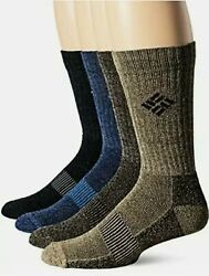 Columbia Men's Size 6 12 Socks Moisture Control Ribbon 4 Pack Multicolor New $17.99