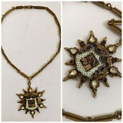 Vintage Victorian Necklace Antique with Glass and Paste Stones $125.00