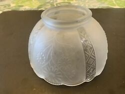 Vintage Glass Lamp Shade Etched Flowers $23.95
