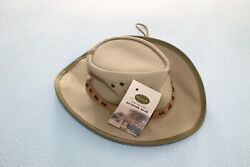 NWT ROGUE men#x27;s sand coloured canvas camping hat size L $14.99