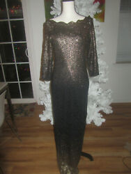 Black gold Lace fitted bodycon Dress L maxi gown ball evening new cold shoulder