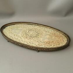 ANTIQUE VICTORIAN VTG BRASS amp; GLASS SM VANITY PERFUME TRAY w FRENCH LACE INSERT $65.00