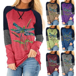 Womens Printed Crew Neck Long Sleeve T Shirt Ladies Pullover Casual Loose Top $16.90