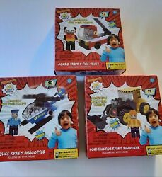3 Ryan's World Helicopter Fire Truck Bulldozer Building Block Sets With Figures $19.95