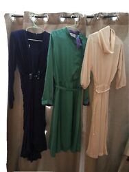 3 Vintage Womens Designer Dresses Evening Wear midi Dresses