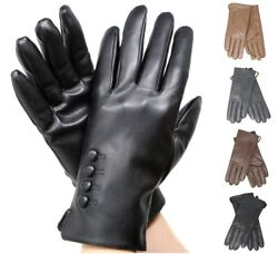 Women#x27;s Elegant Soft Winter Warm Genuine Leather Gloves w Fur lined Warm Gloves $18.99