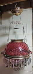 ANTIQUE HANGING OIL LAMP JEWELED FRAME CRANBERRY HOBNAIL SHADE $675.00