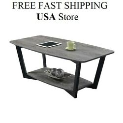 Graystone Coffee Table Wooden Modern Urban Industrial Style Metal Frame spacesav $142.90
