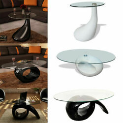 Modern High Gloss Coffee Table Glass Table Top Side Table Living Room Furniture $120.09